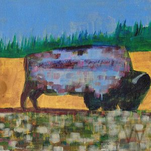 Grazing Buffalo by Linus Woods (represented by Bearclaw Gallery) acrylic on canvas 10″x 8″ framed