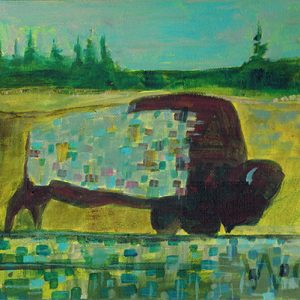 Grazing Buffalo #2 by Linus Woods (represented by Bearclaw Gallery) acrylic on canvas 10″x 8″ framed