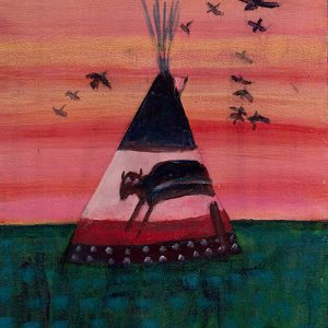 Buffalo Tipi by Linus Woods (represented by Bearclaw Gallery) acrylic on canvas 8″x 10″ framed