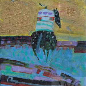 Lone Rider #2 by Linus Woods (represented by Bearclaw Gallery) acrylic on canvas 8″x 10″ framed