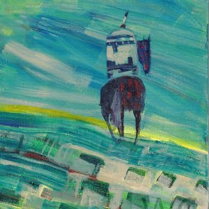 Lone Rider by Linus Woods (represented by Bearclaw Gallery) acrylic on canvas 8″x 10″ framed