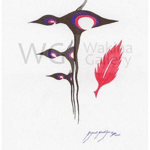 The Flock by Roger Noskiye ink  8.5″x 11″