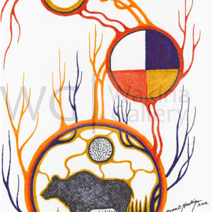 Yellow Circles Series 2 by Roger Noskiye ink  8.5″x 11″