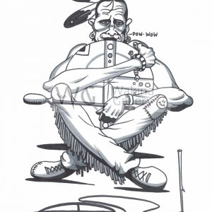 Pow Wow by Bill Roy ink on paper  8.5″x 11″