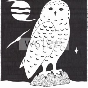Snowy Night Owl by Christopher Chambaud felt-tip on paperboard  8.5″x 11″