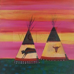 2 Tipis by Linus Woods (represented by Bearclaw Gallery) acrylic on canvas stretched on wood frame 20″ x 24″