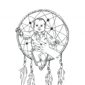 Baby Catcher (from the Western Native News Collection) by Bill Roy ink on paper  8.5″x 11″