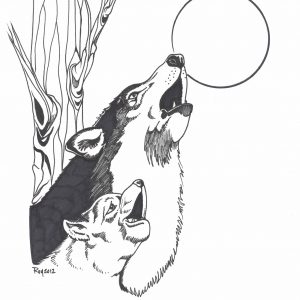 Bark at the Moon by Bill Roy ink on paper  8.5″x 11″