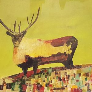 Being Caribou by Linus Woods acrylic on canvas stretched on wood frame 24″ x 18″