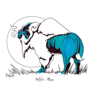 Buffalo Moon by Bill Roy original illustration ink on paper  8.5″x 11″