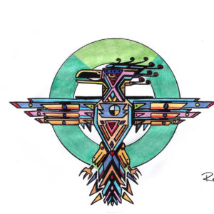 Thunderbird Awoken by Bill Roy original illustration ink on paper  8.5″x 11″