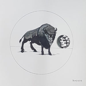 Buffalo Thought by Bill Roy original illustration ink on paper  8.5″x 11″