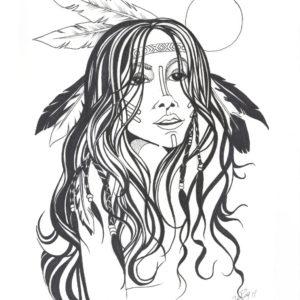 Moonlight Beauty by Bill Roy original illustration ink on paper  8.5″x 11″