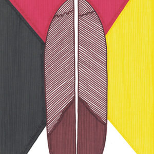Feather Shield by Christopher Chambaud felt-tip on paperboard  8.5″x 11″