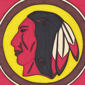 Western Native by Christopher Chambaud felt-tip on paperboard  8.5″x 11″