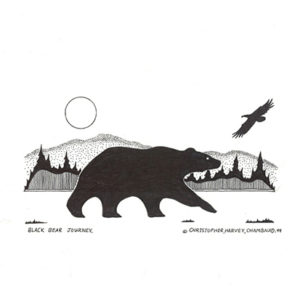 Black Bear Journey by Christopher Chambaud felt-tip on paper  8.5″x 11″