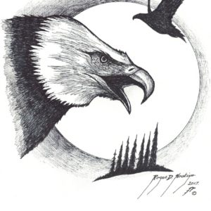 Eagles by Roger Noskiye ink  8.5″x 11″