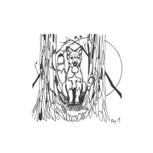 Between Two Trees by Bill Roy original illustration ink on paper  8.5″x 11″