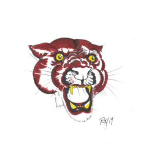 Cougar by Bill Roy original illustration ink on paper  8.5″x 11″