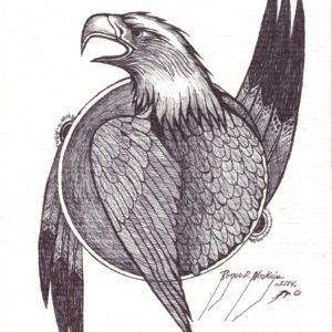 Eagle by Roger Noskiye ink  8.5″x 11″