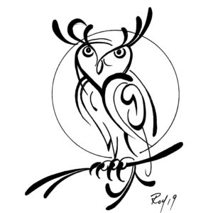Owl by Bill Roy original illustration ink on paper  8.5″x 11″