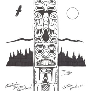 Totem Pole by Christopher Chambaud felt-tip on paperboard  8.5″x 11″