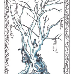 Tree at Play by Bill Roy original illustration ink on paper  8.5″x 11″