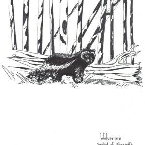 Wolverine by Bill Roy original illustration ink on paper  8.5″x 11″