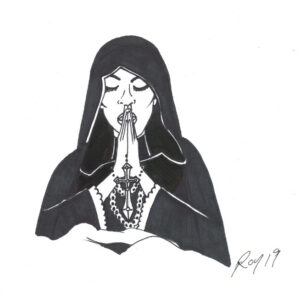 """Nun"" by Bill Roy original illustration ink on paper  8.5″x 11″"