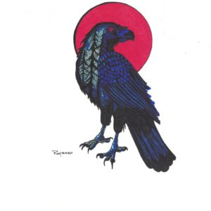 """Raven in the Red Moon"" by Bill Roy original illustration ink on paper  8.5″x 11″"