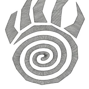 """""""Hypnotic Bear Paw"""" print illustration by Christopher Chambaud felt-tip on paperboard  8.5″x 11″"""