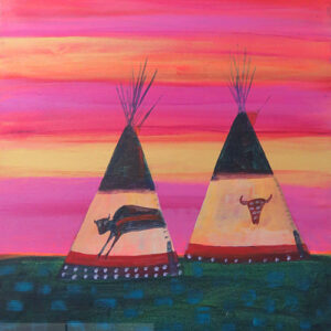 """2 Tipis"" by Linus Woods acrylic on canvas 24″x 20″ stretched on Wood Frame"