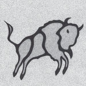 """Bison Constellation"" original illustration by Christopher Chambaud felt-tip on paperboard  8.5″x 11″"