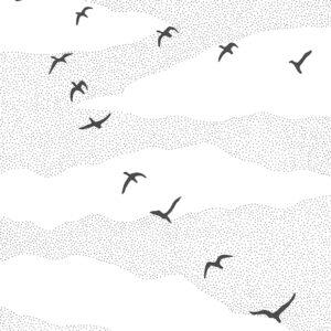 """Flock"" original illustration by Christopher Chambaud felt-tip on paperboard  8.5″x 11″"