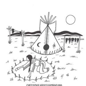 """Making Camp"" original illustration by Christopher Chambaud felt-tip on paperboard  8.5″x 11″"