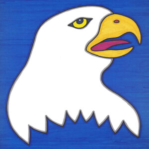 """""""Young Eagle"""" original illustration by Christopher Chambaud felt-tip on paperboard  8.5″x 11″"""