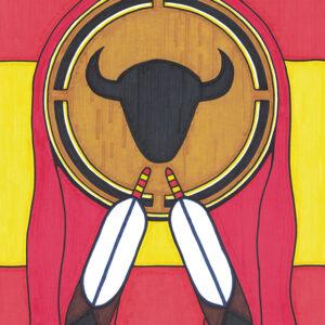 """Shield"" original illustration by Christopher Chambaud felt-tip on paperboard  8.5″x 11″"