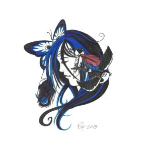 """Hummingbird Soul"" by Bill Roy original illustration ink on paper  8.5″x 11″"