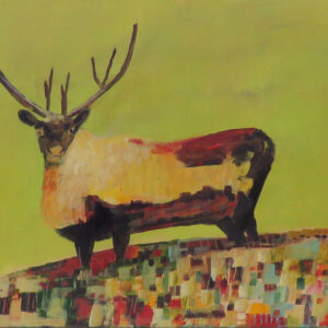 """Jellybean Caribou"" by Linus Woods acrylic on canvas 24″x 18″ stretched on Wood Frame"
