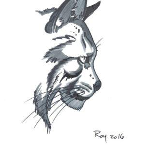 """Lynx 2″ by Bill Roy original illustration ink on paper  8.5″x 11"""