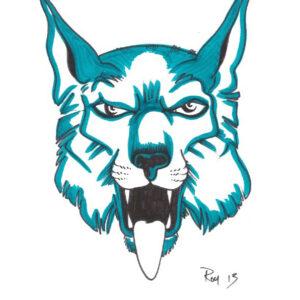 """Lynx"" by Bill Roy original illustration ink on paper  8.5″x 11″"