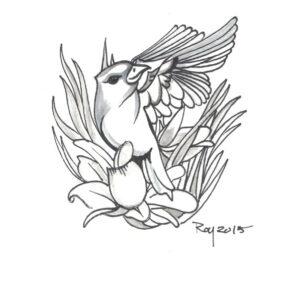 """Spring"" by Bill Roy original illustration ink on paper  8.5″x 11″"