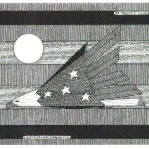 """""""Freedom of Flight"""" Print by Christopher Chambaud felt-tip on paperboard  8.5″x 11″"""