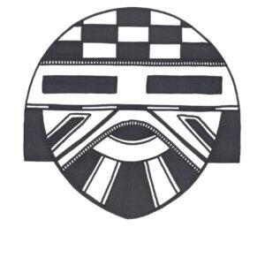 """Kachina Mask"" original illustration by Christopher Chambaud felt-tip on paperboard  8.5″x 11″"