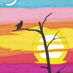 """Sunset"" original illustration by Christopher Chambaud felt-tip on paperboard  8.5″x 11″"
