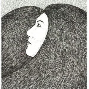 """""""Untitled"""" print illustration by Christopher Chambaud felt-tip on paperboard  8.5″x 11″"""