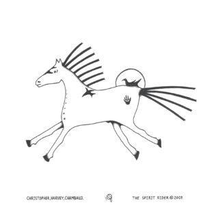 """The Spirit Rider"" original illustration by Christopher Chambaud felt-tip on paperboard  8.5″x 11″"