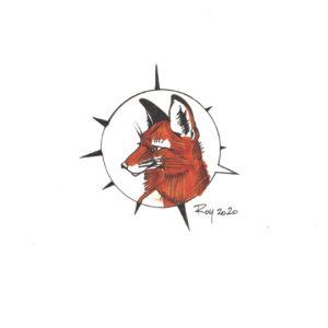 """Fox"" by Bill Roy original illustration ink on paper  8.5″x 11″"