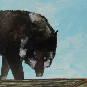 """""""Wolf"""" by Linus Woods acrylic on canvas 20″x 16″ stretched on Wood Frame"""