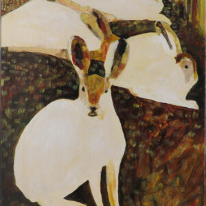 """""""Rabbits"""" by Linus Woods acrylic on canvas 24″x 18″ stretched on Wood Frame"""